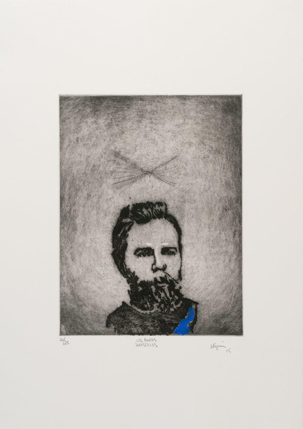 Les routes invisibles (Herman Melville) , 2015. Eau-forte rehaussée à l'acrylique. Édition de 25.