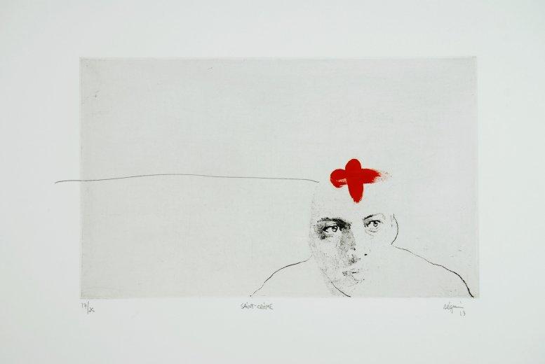 Saint-Crème , 2013. Eau-forte rehaussée à l'acrylique et graphite. Édition de 25.