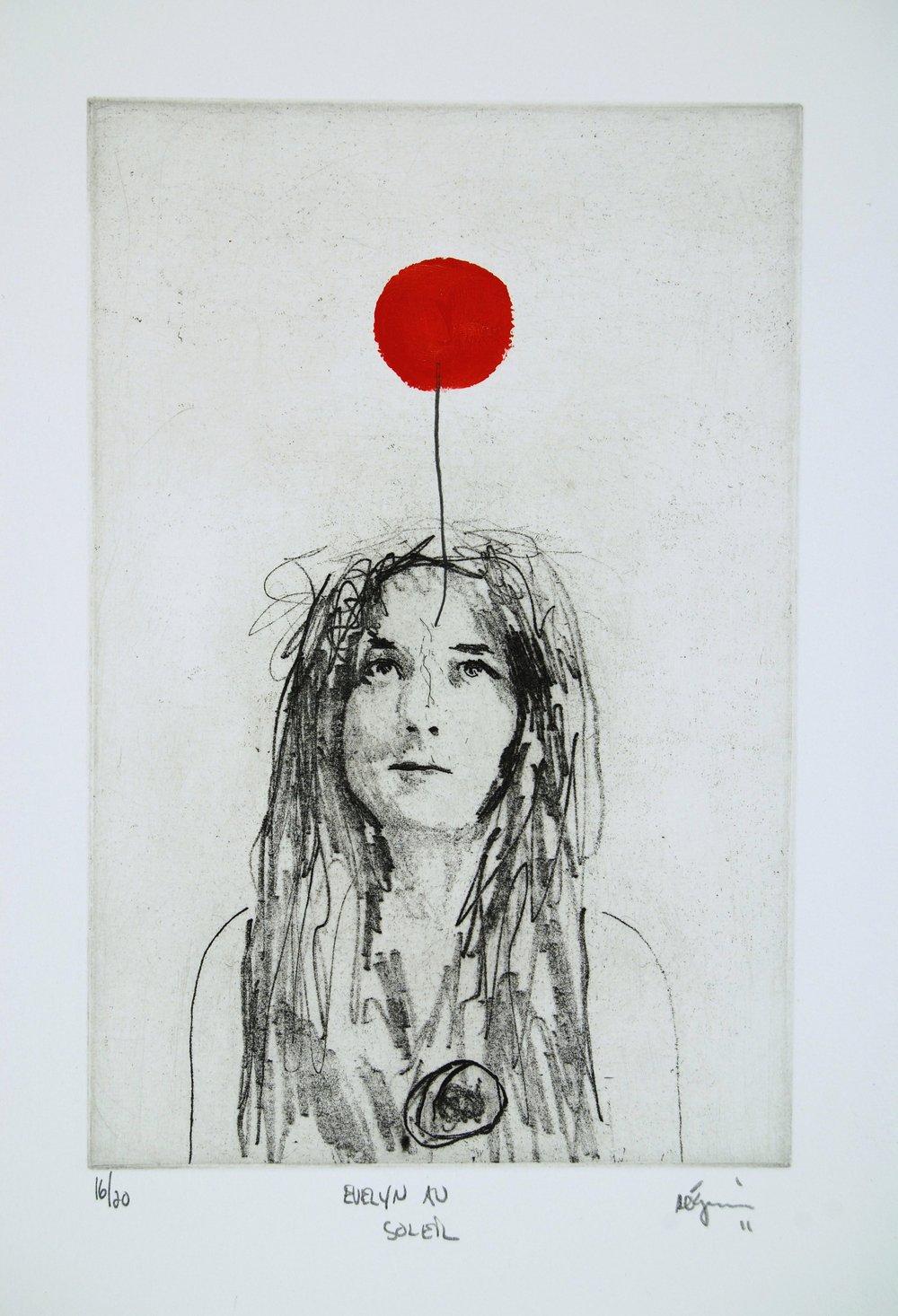 Evelyn au soleil,  2012. Eau-forte rehaussée à l'acrylique. Édition de 25.