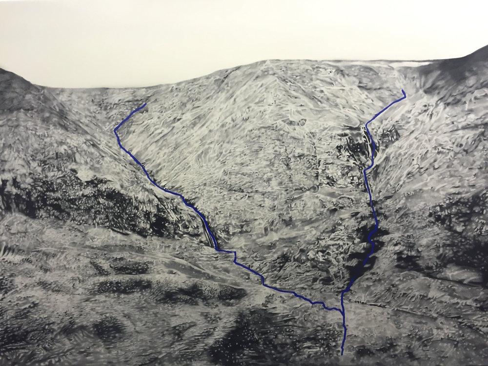 Ungava noir et blanc , 2015. Huile et fusain sur toile. 78 x 108.