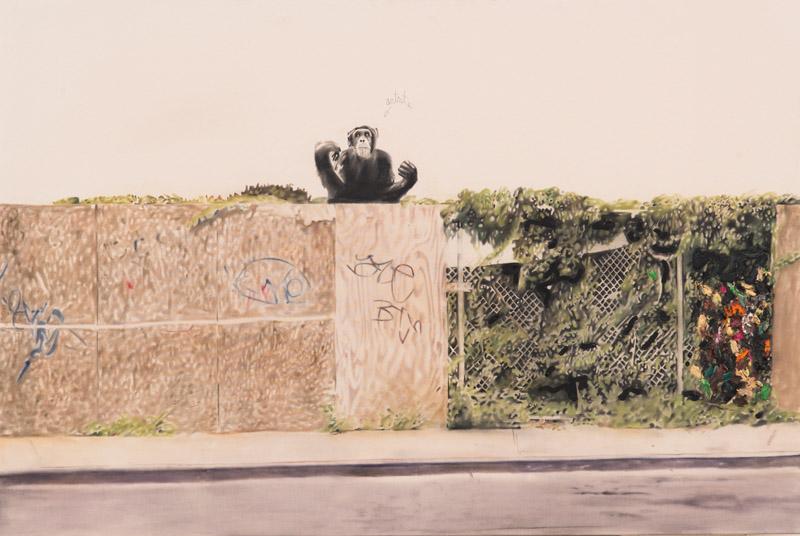 Urban Landscape with Artist , 2013. Oil on canvas. 48 x 72 cm.
