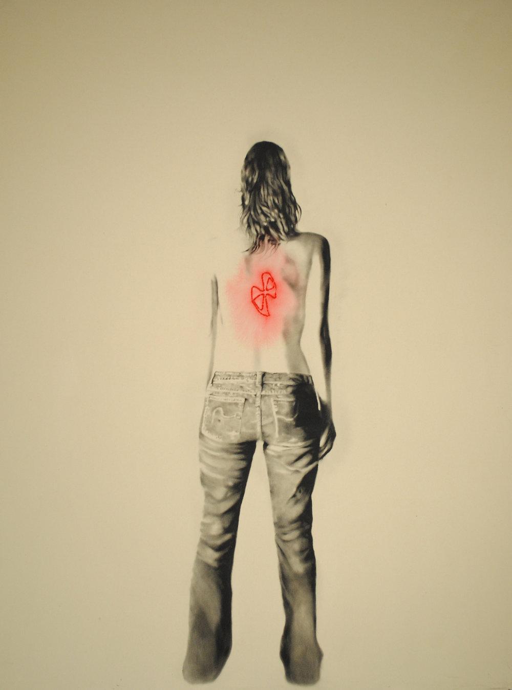 Branded women (religious),  2011. Huile et fusain sur toile. 84 x 60 pouces.
