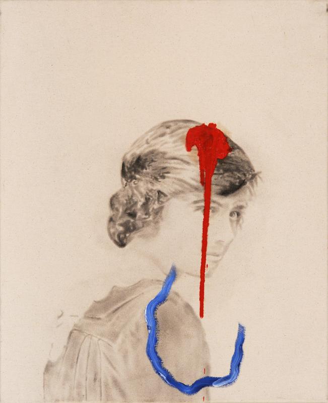 Sans titre (Eva brown) , 2011. Huile et fusain sur toile.