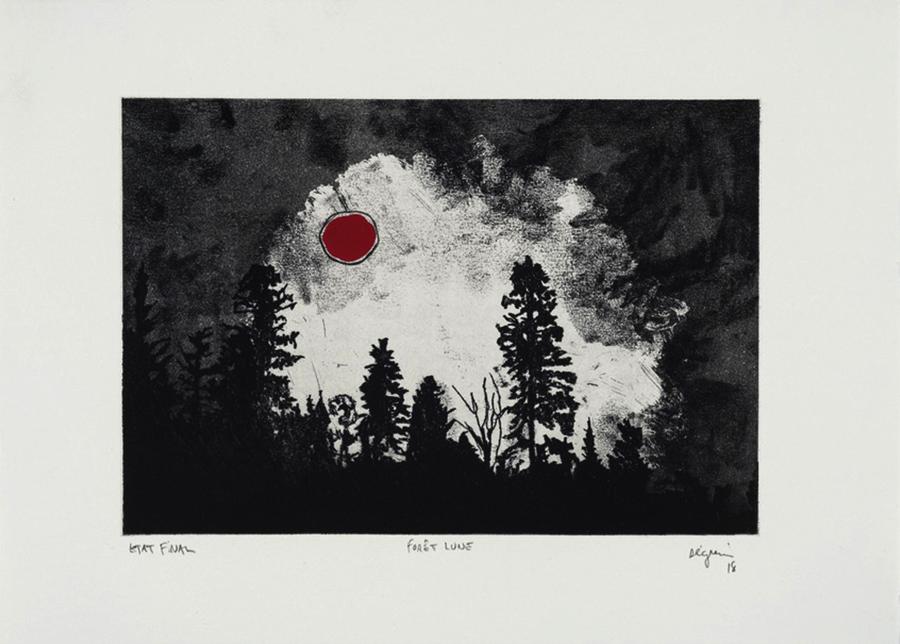 Forêt Lune,  2018 .  Eau-Forte et graphite sur papier.   11 x 15.5 pouces.