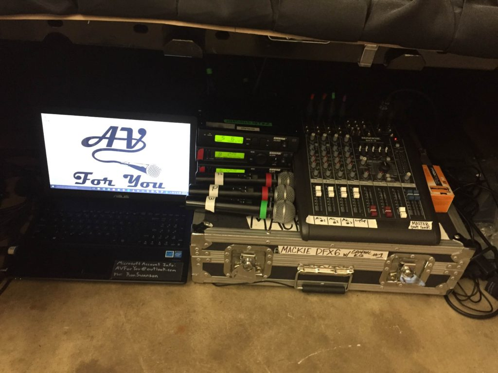 Picture, of AV Equipment, Computer, Mics, Soundboard, used to support the Minnesota Craft Brewer's Guild at the MN State Fair
