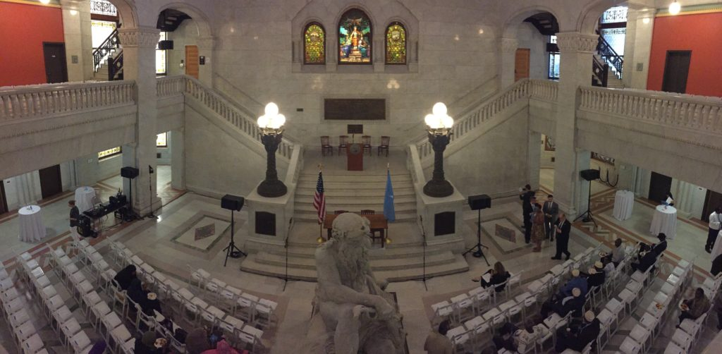 AV for You rental equipment on display at 8/12/16 City Hall event. Picture of City Hall rotunda with AV for You equipment.