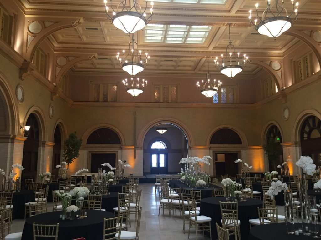Picture of a wedding at the Depot with 16 battery powered up lights adding to the ambience
