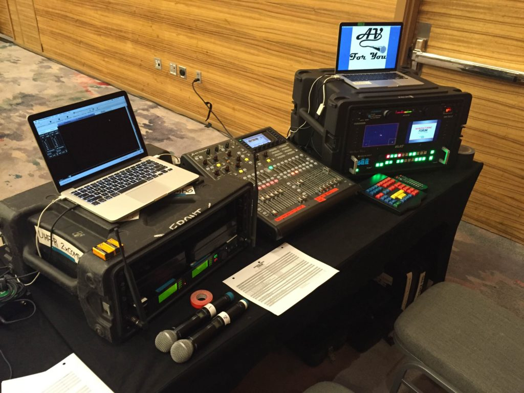 Picture of AV for You tech table and the new x32 Producer mixer with our UHF-R rack and pulse video switcher.