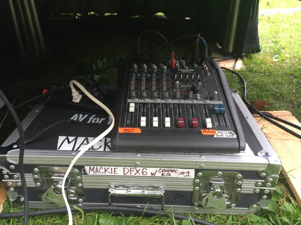 Picture of AV for You rental Mackie Mackie DFX 6 stereo mixer that was used for a simple set up of a wired microphone on stage