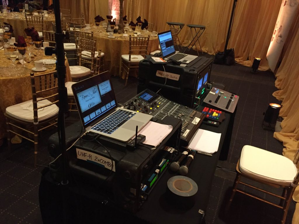Picture of tech table for AV for You audio, video, and lighting set-up for a fundraising event held by the Minnesota Opera at the Travelers Insurance Building in St. Paul.