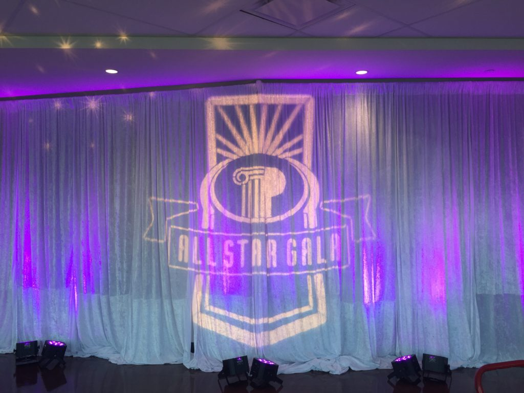 Picture of All Star Gala Logo projected on AV for you pipe and drape at US Bank Stadium