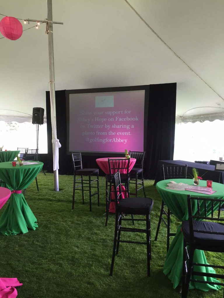Picture of AV for You 7.5'x10' screen used 2016 Abbey's Hope event at Braemer Golf course