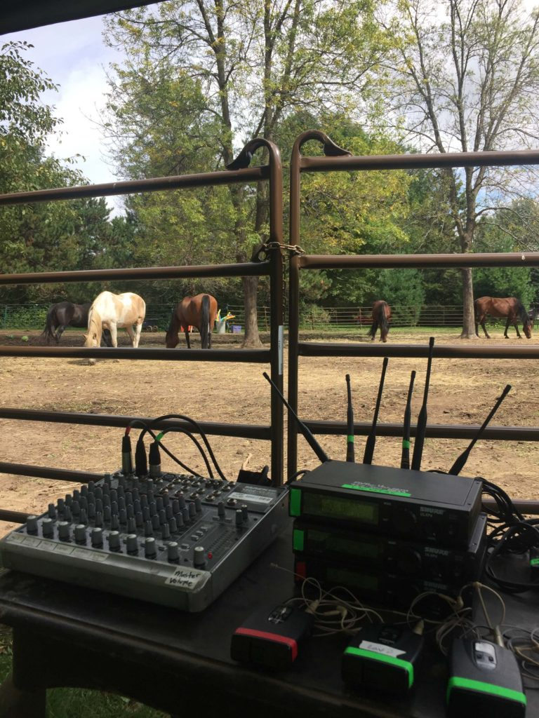 Picture of AV for YOU mixer and wireless mics with horses grazing in the background