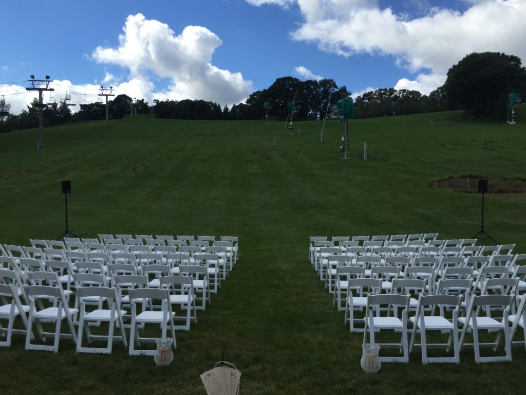 Photo of wedding reception set-up at the the Hyland Hill Chalet. Photo shows AV for You K8 speakers.