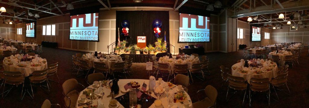 Picture of AV for You audiovisual set-up for the Minnesota Utility Investors 26th Annual Meeting at Earle Brown Heritage Center