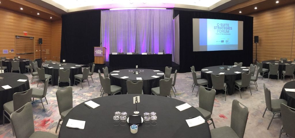 Picture of AV for You audiovisual set-up for the C-Suite Strategies Forum at Loews Hotel