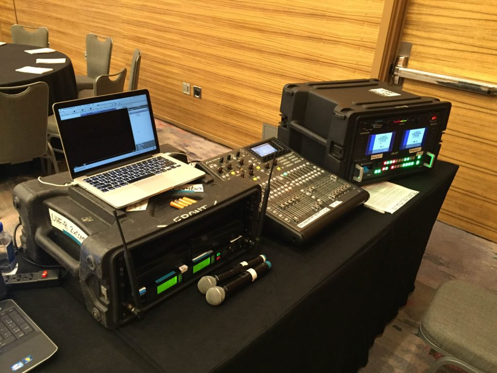 Picture of AV for You tech table at the C-Suite Strategies Forum at Loews Hotel