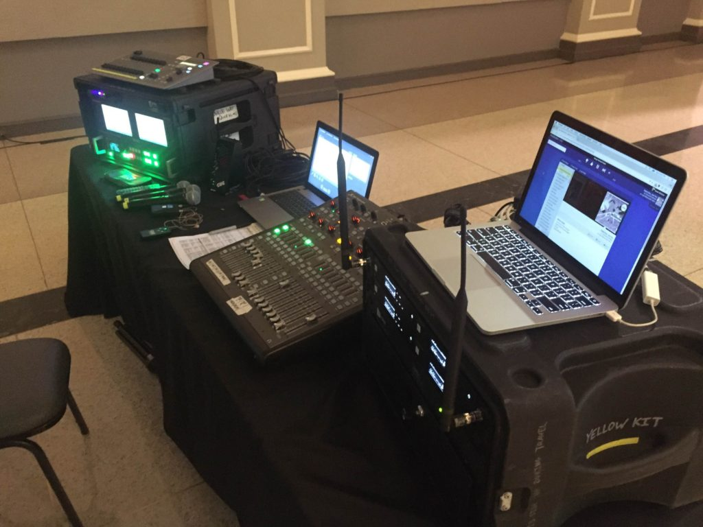 Picture of the AV for You tech table at the Heart of St. Paul Fundraiser at the Great Hall in St. Paul Minnesota