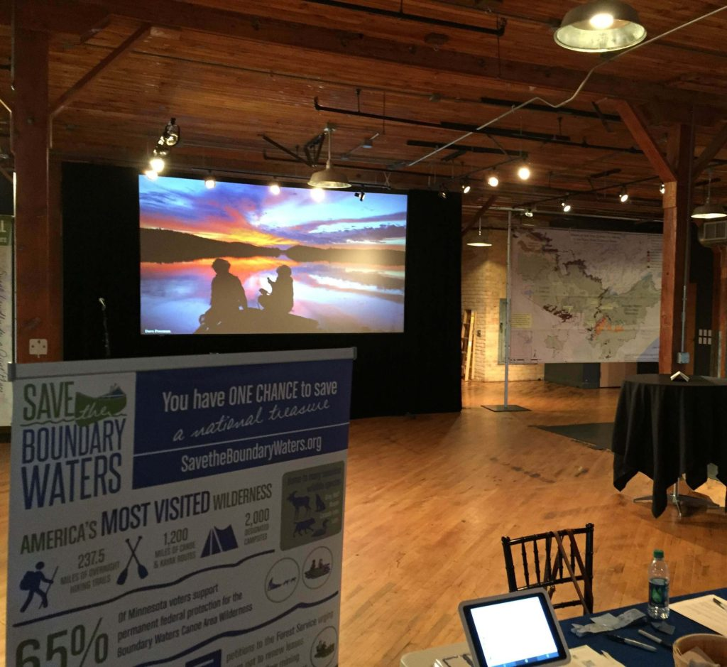 Picture of AV for You video and audio set-up for A Year in the Wilderness, a Save the Boundary Waters Event at Solar Arts Building