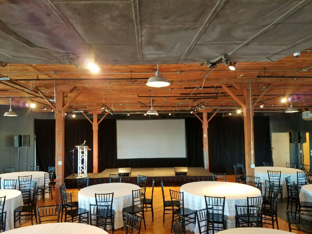 Picture of AV for You audio, video, and event equipment set-up for the Pathways Fundraiser at the Solar Arts Building