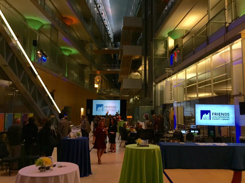 Picture of the AV for You set-up for the Minneapolis Central Library 10 year anniversary.