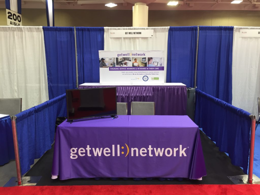 "Picture of AV for You 32"" monitor for the GetWellNetwork booth at the National Veteran's Small Business Engagement at the Minneapolis Convention Center."