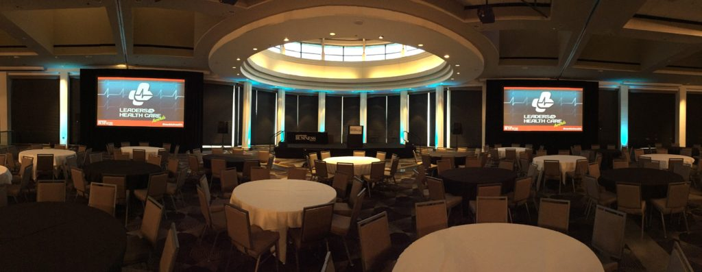 Picture of the AV for You audio/visual set up for the Leaders in Health Care at the InterContinental Hotel St Paul