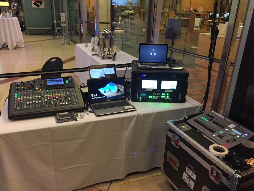 Picture of the AV for You tech table at the Minneapolis Central Library 10 Year Anniversary