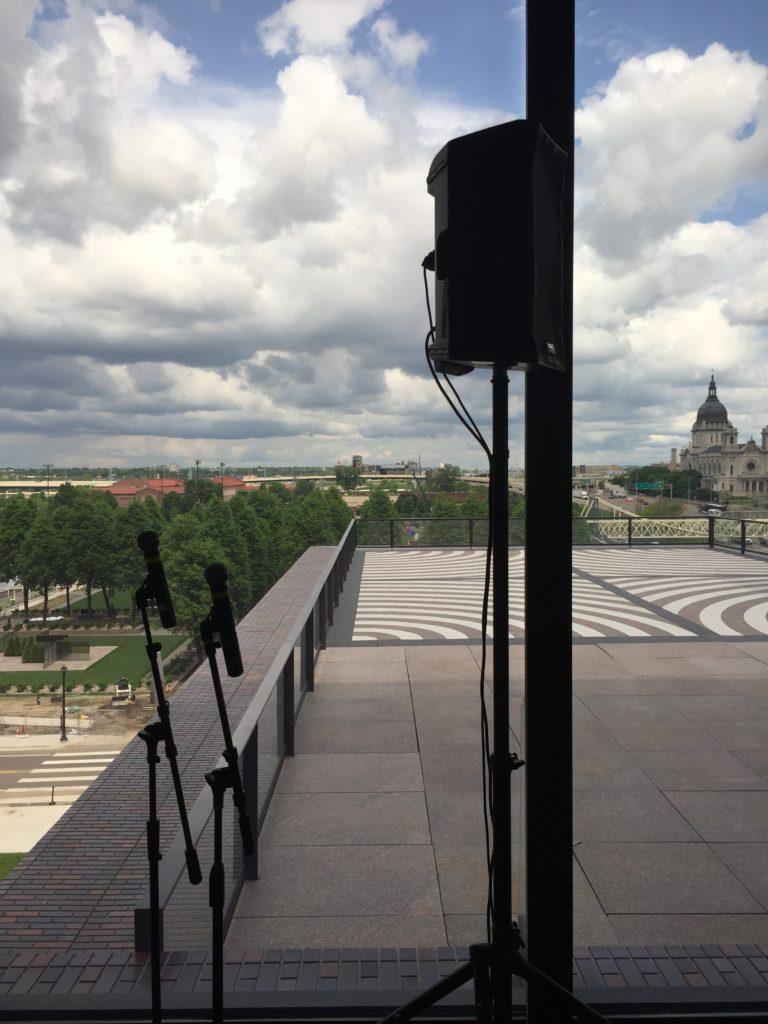 Picture of the AV for You audio/visual set up for the Walker Art Center Garden Terrace Room