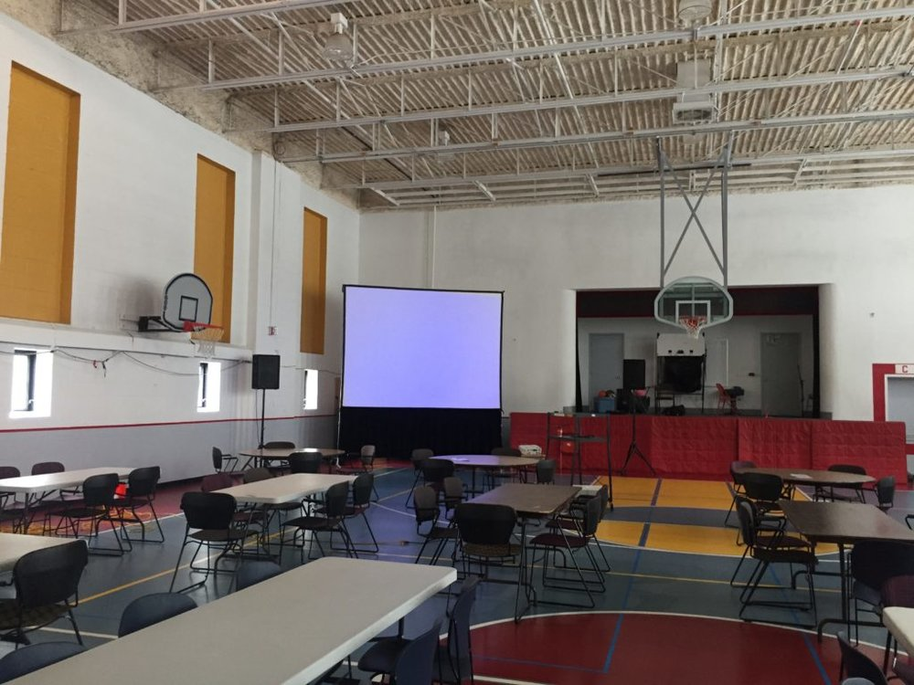 Picture of AV for You Large Screen in a Gymnasium