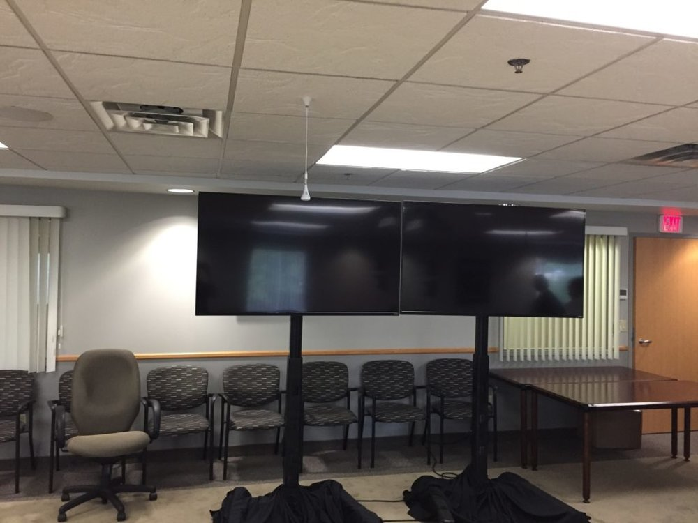 Picture of the AV for You set up of Dual monitors at Minnesota Valley Transit Authority in Burnsville