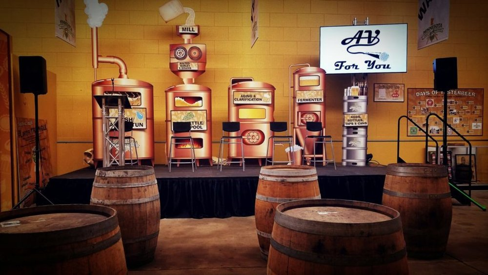 Picture of AV for You monitor with Craft Brewers at the State Fair