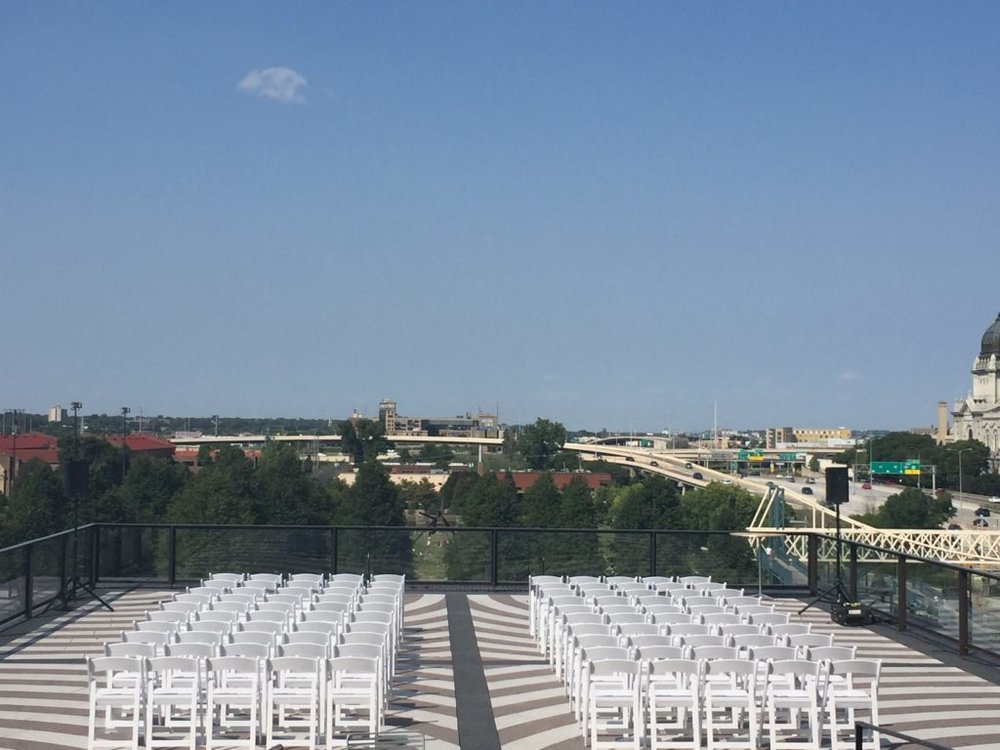 Picture of AV for You set up for a Wedding on the Garden Terrace at the Walker Art Center
