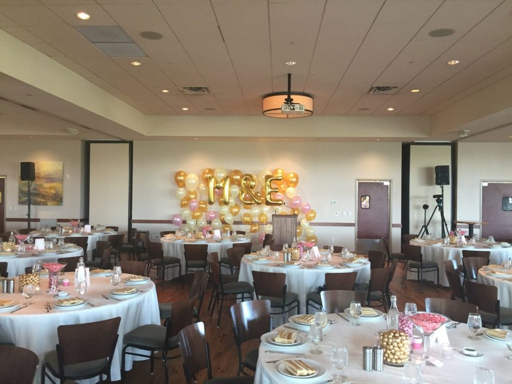 Picture of AV for You audio set up for a Rehearsal Dinner at Pinstripes