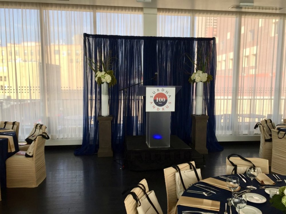 Picture of AV for You set up for Surdna Andrus Centennial Event at Le Meridien