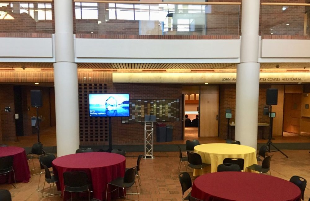Picture of AV for You set up in the Atrium at Humphrey School of Business