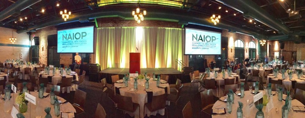 Picture of AV for You audio visual set up for NAIOP at Nicollet Island Pavilion
