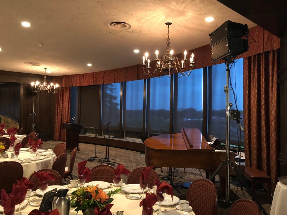 Picture of AV for You audio set up for a Choir performance at Town and Country Club