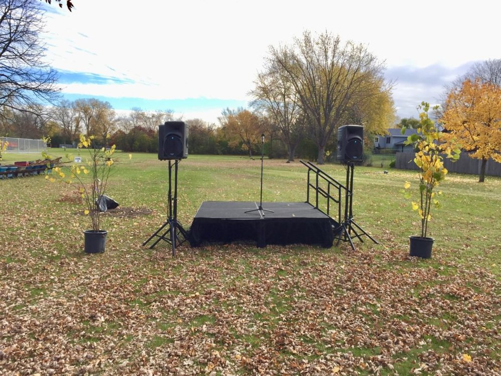 Picture of AV for You set up for Super Bowl LII Urban Forestry Program
