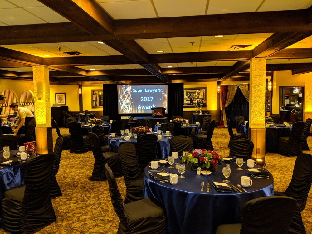 Picture of AV for You set up for the Super Lawyers event at Tinucci's