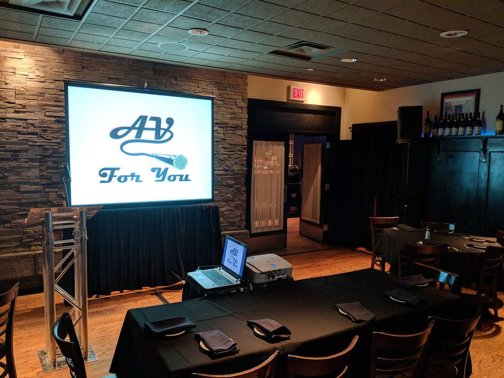 Picture of AV for You's set up at Pittsburgh Blue in Maple Grove, MN