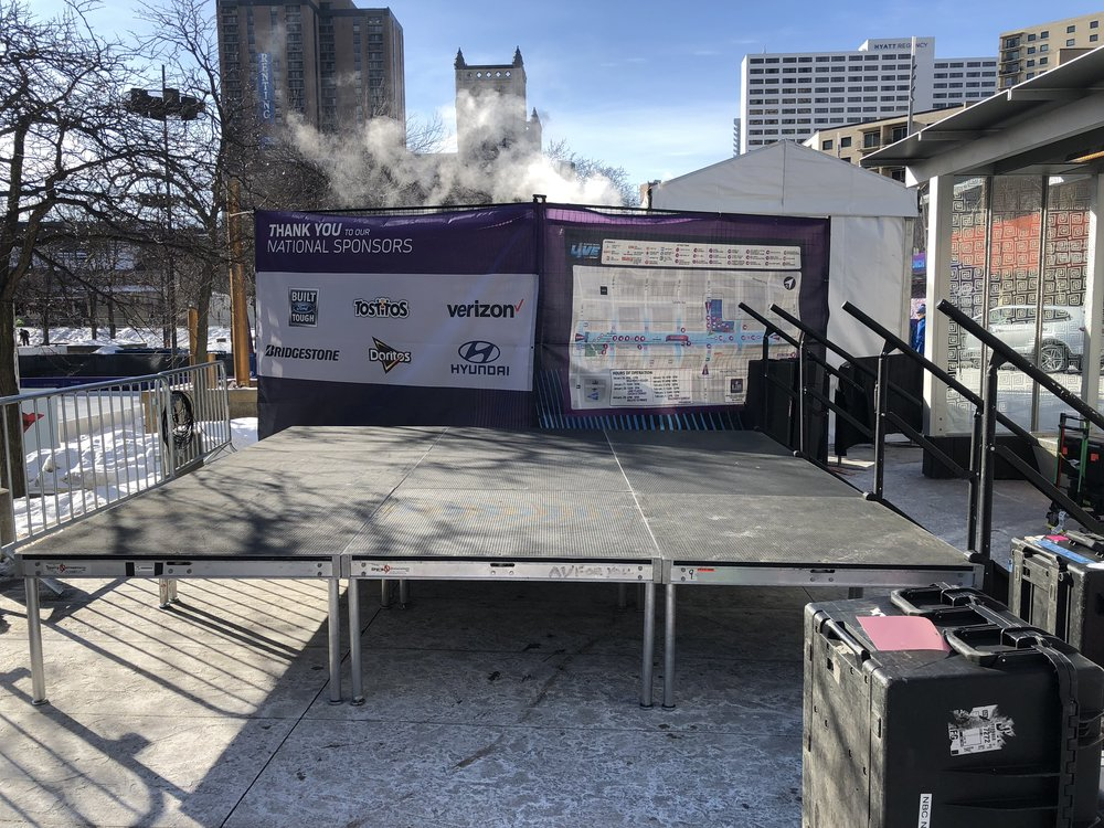 Picture of AV for You stage deck rental at Nicollet Mall