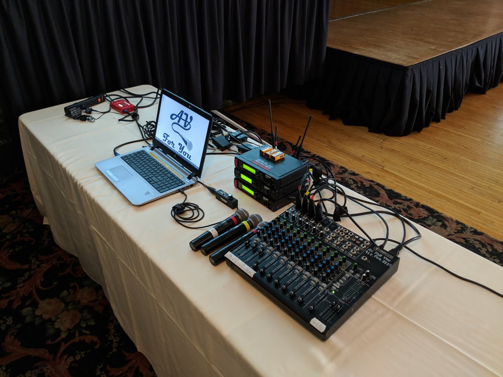 Picture of AV for You tech table at the St Paul Athletic Club