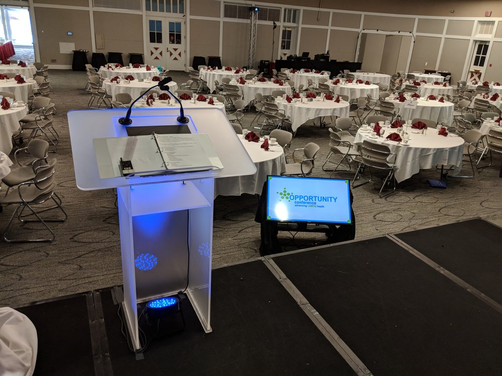 View from on stage with AV for You rental frosted podium and confidence monitor