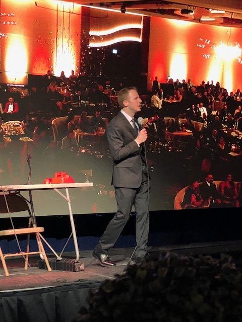 Owner of AV for You, Josh Reitan, presenting onstage at the 2018 MN Star Awards