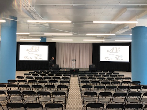 Picture of AV for You projector, screen and staging rental at Treasure Island Center