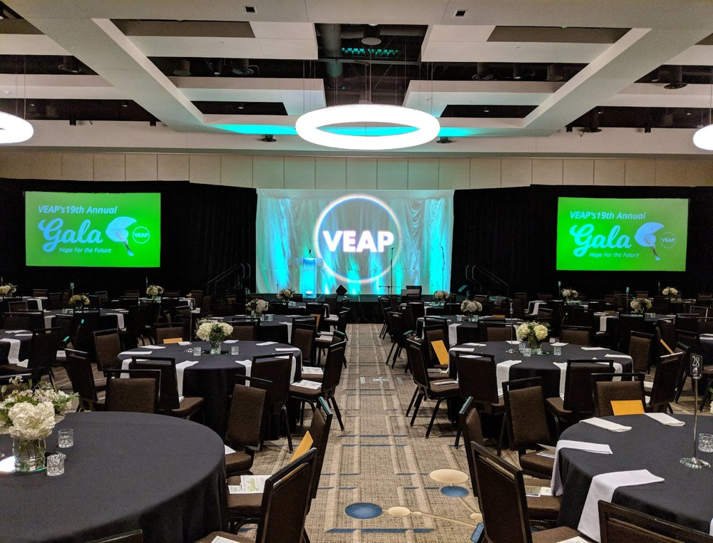 Picture of AV for You rental equipment utilized for the annual VEAP gala at the JW Marriott