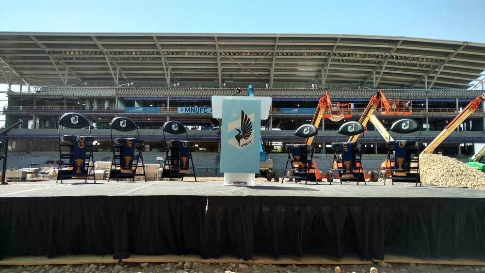 Picture of AV for You stage rental for a MNUFC press conference at Allianz Field