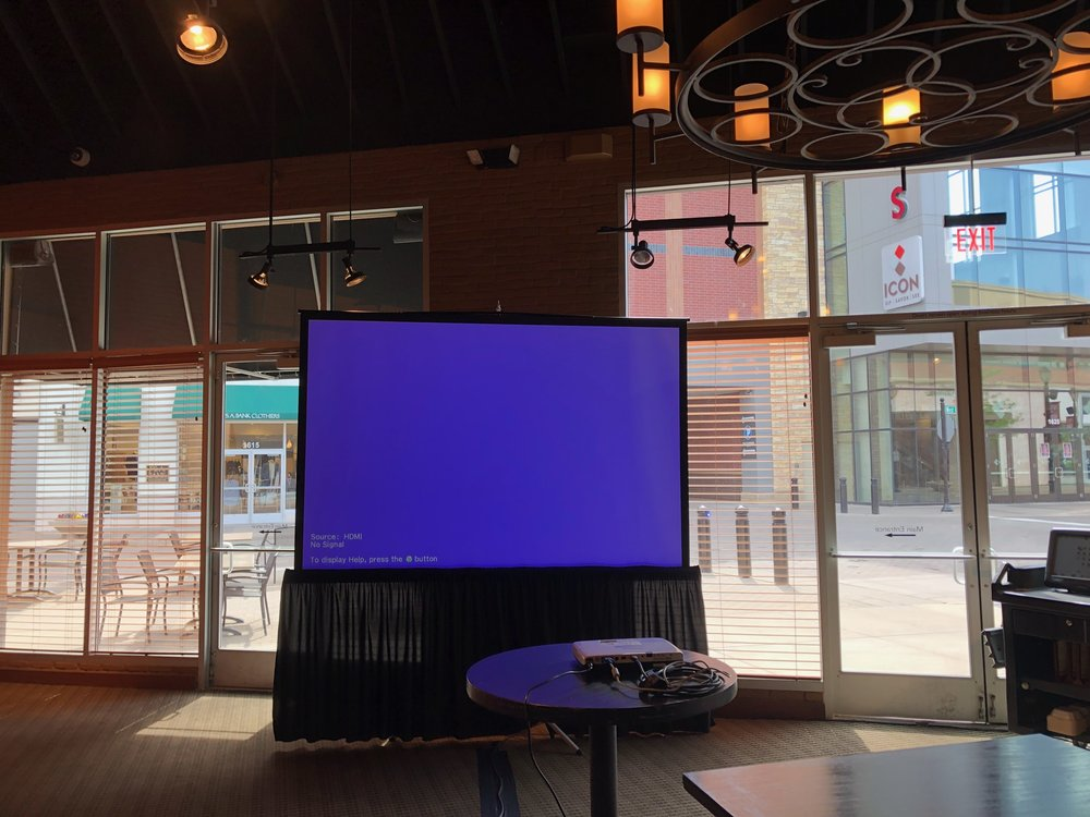 Picture of AV for You projector and screen rental at Rojo Mexican Grill in St Louis Park