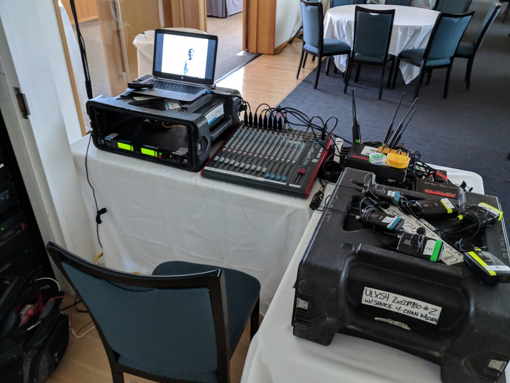 Picture of AV for You tech table at American Swedish Institute